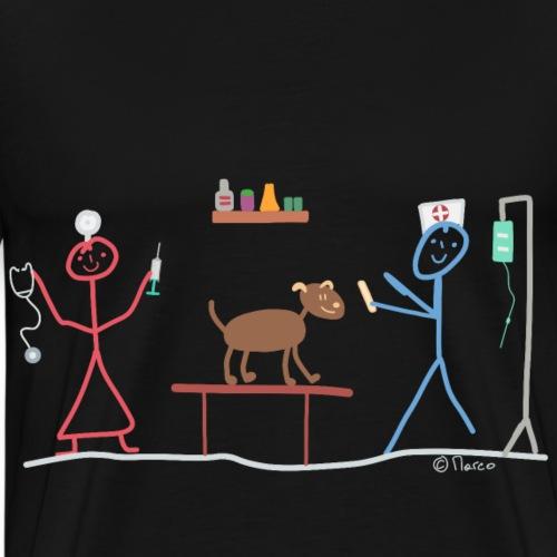 Tiermedizin Hilfe Strichmännchen Doktor Frau Beruf - Männer Premium T-Shirt