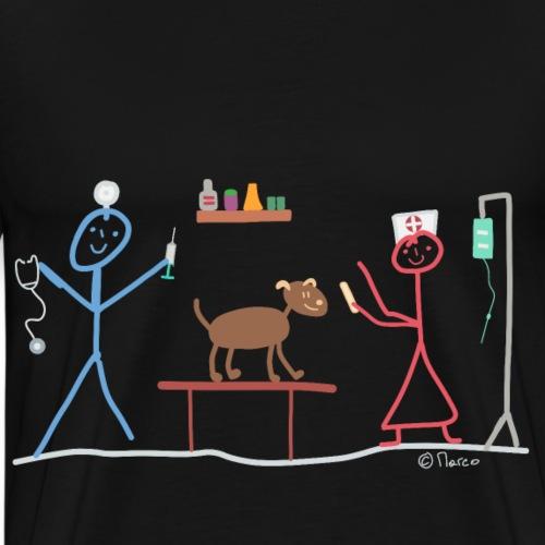 Tierkrankenpflege Strichmännchen Hund Maus Beruf - Männer Premium T-Shirt