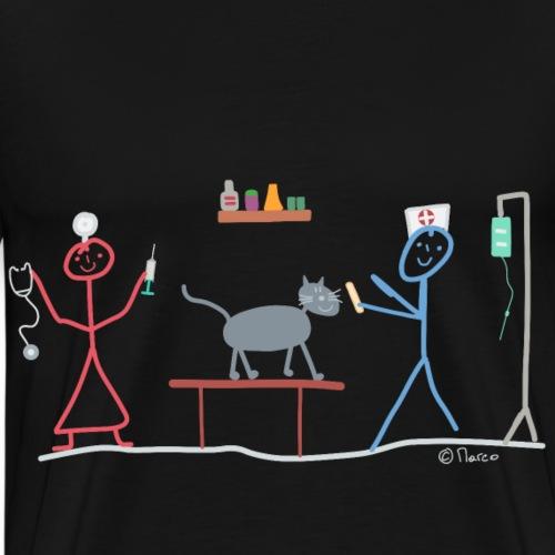 Tierarzt Praxis Strichmännchen Pfleger Ärztin Tier - Männer Premium T-Shirt