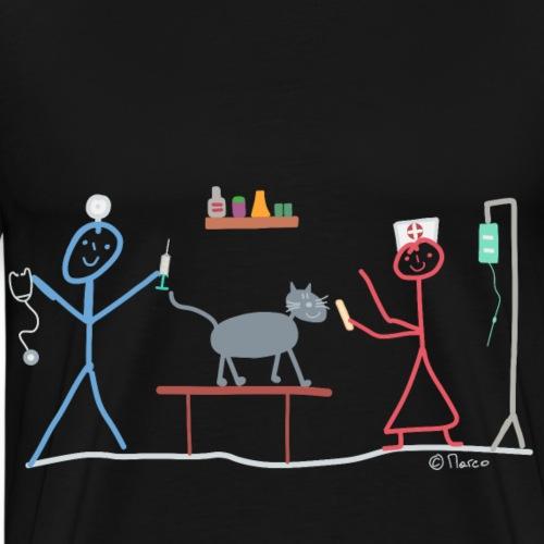 Tierarzt Strichmännchen Frau Katze Hund Helfen - Männer Premium T-Shirt