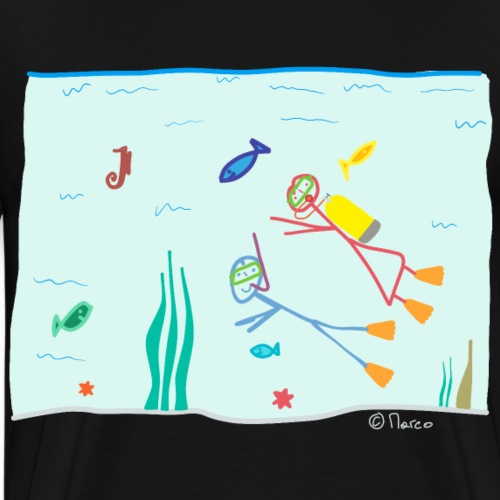 Strichfrau Mädchen Gerätetauchen Fische Meer See - Männer Premium T-Shirt