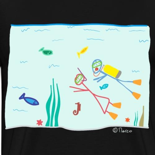 Strichmännchen tauchen Ozean schwimmen Urlaub - Männer Premium T-Shirt
