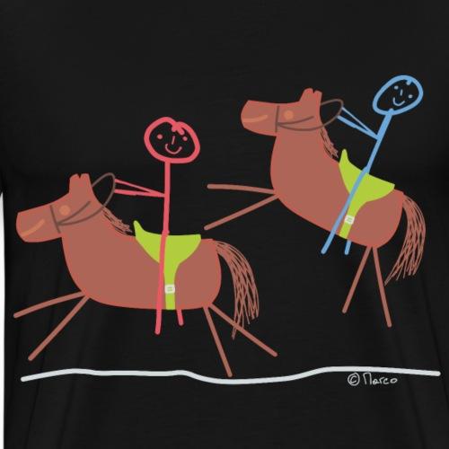 Reitausflug Strichmännchen Paar Pferd Mann Frau - Männer Premium T-Shirt