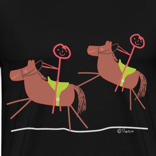 Reitausflug Strichfrau Strichmännchen Frau Pferd - Männer Premium T-Shirt