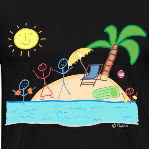 Strand Familie Strichmännchen Sonne Meer Palmen - Männer Premium T-Shirt