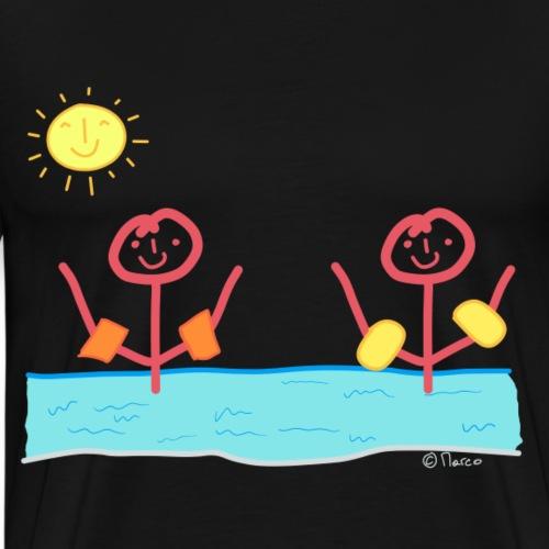 Freundinnen Strichmännchen T-shirt schwimmen Frau - Männer Premium T-Shirt