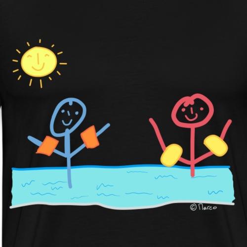 Wasser Strichmännchen T-shirt Baden Schwimmen Spaß - Männer Premium T-Shirt