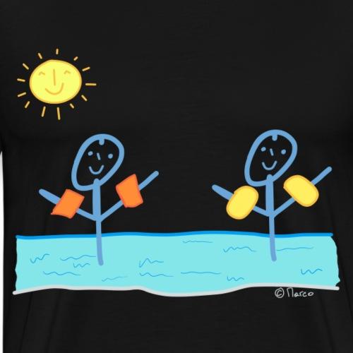 Wasser Strichmännchen Freunde T-shirt schwimmen - Männer Premium T-Shirt