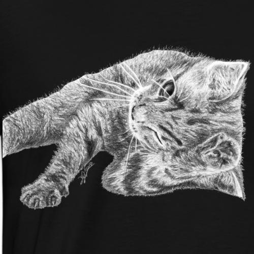 Small kitten in gray pencil - Men's Premium T-Shirt