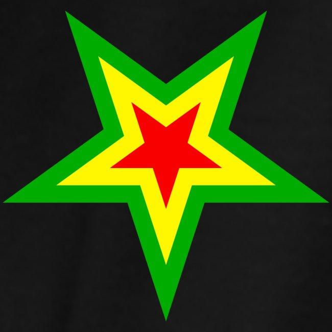 Stern rot, gelb, grün