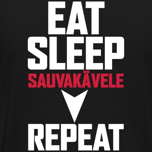 Eat, sleep, sauvakävele, repeat - Miesten premium t-paita