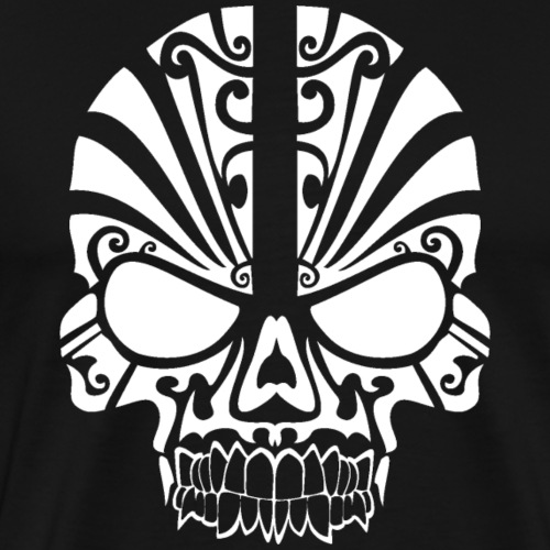 Tribal Skull white mit Logo - Männer Premium T-Shirt