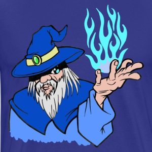 Willpower Wizard Blue / Light Blue Flame - No Text - Men's Premium T-Shirt