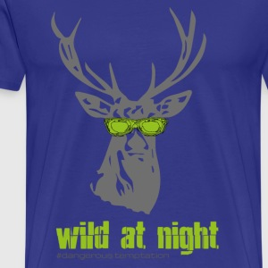 "Deer with sunglasses ""wild at night"" - Men's Premium T-Shirt"