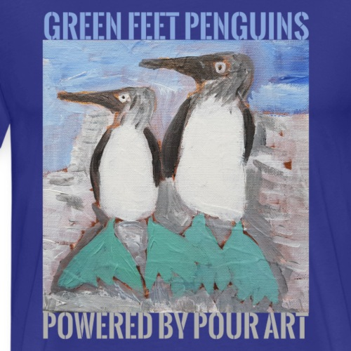 Green Feet Penguins by Pour Art - Herre premium T-shirt