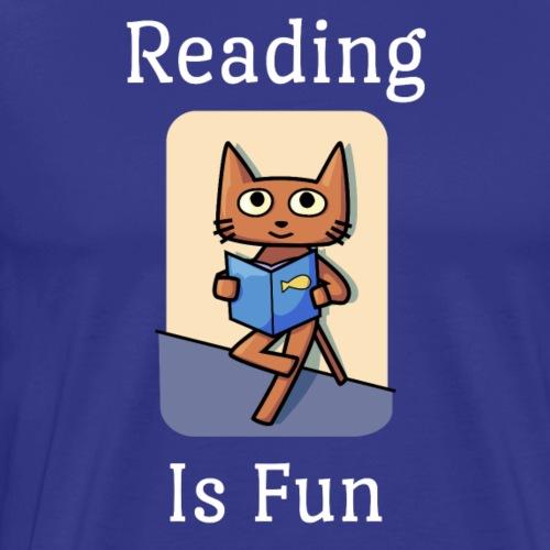 Reading Is Fun Cat - Premium T-skjorte for menn