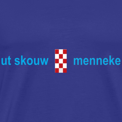 Ut Skouw Menneke tekstlogo-blauw - Mannen Premium T-shirt