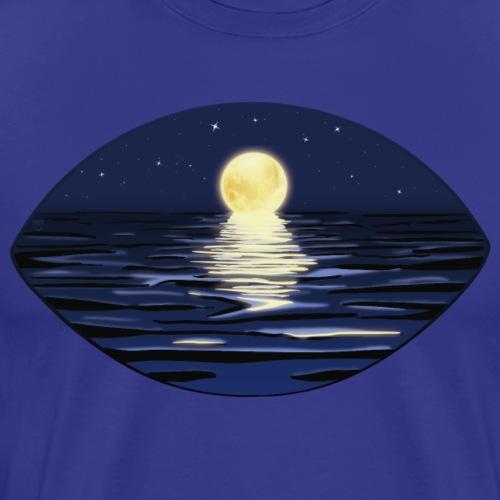 Sommer Vollmondnacht am Meer mit Sternenhimmel - Männer Premium T-Shirt