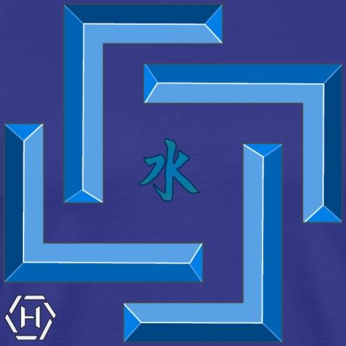 aqua square with kanji - Maglietta Premium da uomo