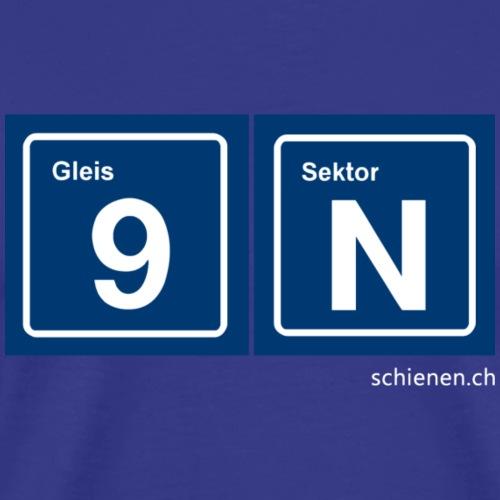 Schilder «Gleis 9 / Sektor N», blau - Männer Premium T-Shirt