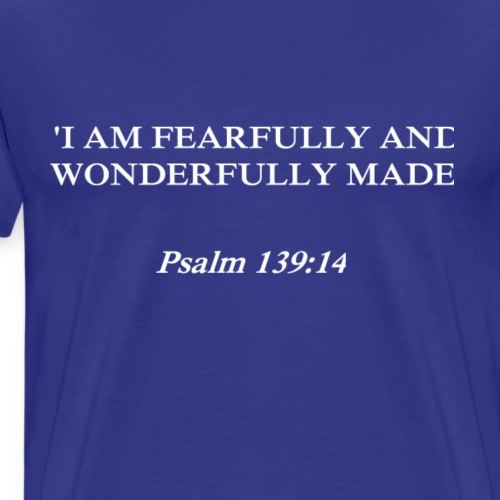 Psalm 139:14 white lettered - Mannen Premium T-shirt