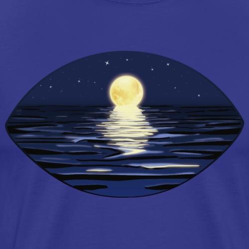 Notte estiva al mare con la luna piena e le stelle - Maglietta Premium da uomo