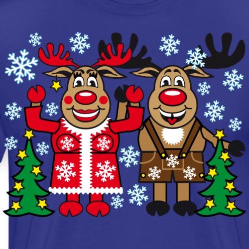 50 Hirsch Rentier Rudolph mit Frau lustig - Männer Premium T-Shirt
