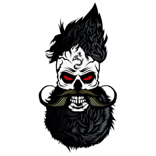 tete de mort crane hipster barbu barbe moustache d - T-shirt Premium Homme