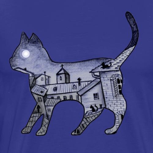 gatto nella notte - Maglietta Premium da uomo