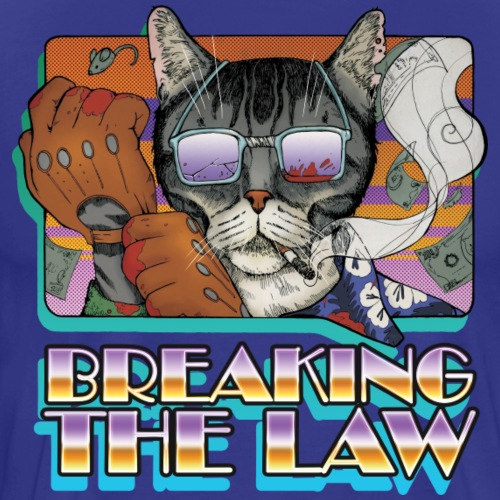 Crime Cat in Shades - Braking the Law - Koszulka męska Premium