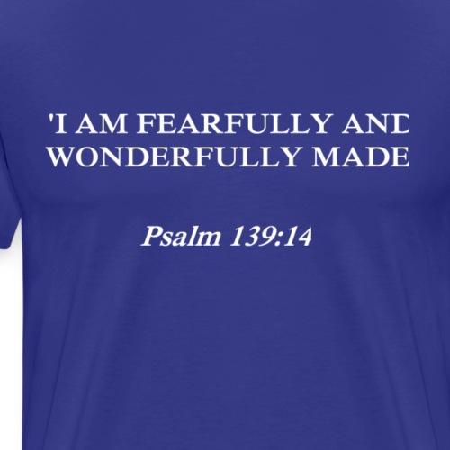 Psalm 139:14 white lettered - Mannen Premium T-shirt