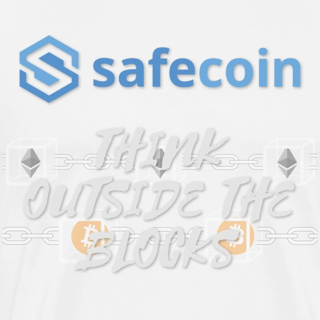 SafeCoin; Think Outside the Blocks (blue + white)