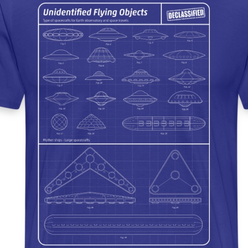 Blueprint of UFO and Spacecrafts - T-shirt Premium Homme