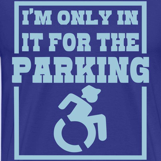 > Ik zit in de rolstoel voor de parkeerplaatsen