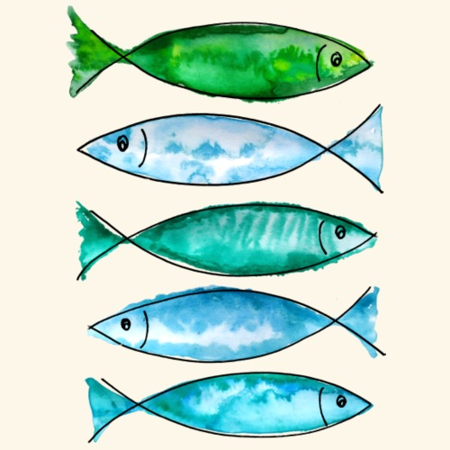 poissons marins verts - T-shirt Premium Homme