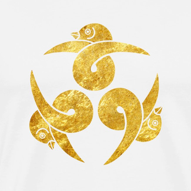 Three Geese Japanese Kamon in gold
