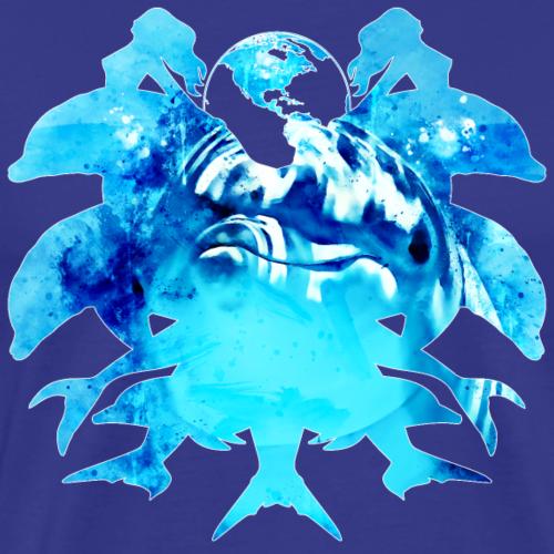 gxp Delfin Spritzer Wasserfarbe - Männer Premium T-Shirt