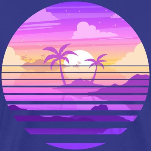 Coucher de soleil sur île paradisiaque - T-shirt Premium Homme