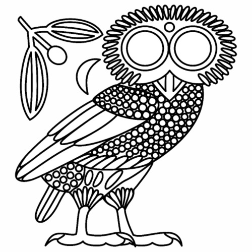Owl of Athena [White (no Ethnicon)] - Men's Premium T-Shirt
