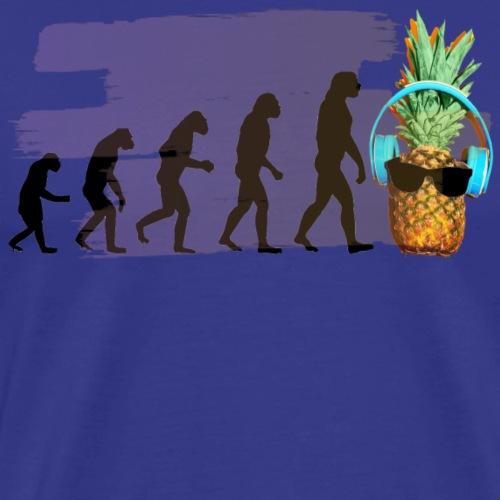 Evolution der coolen Ananas mit Kopfhoere und scho - Männer Premium T-Shirt