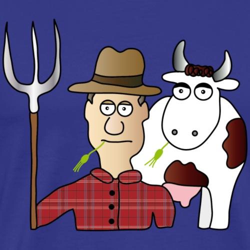 Bauer und Kuh - Männer Premium T-Shirt