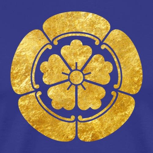 Oda Mon Japanese samurai clan faux gold on black - Men's Premium T-Shirt