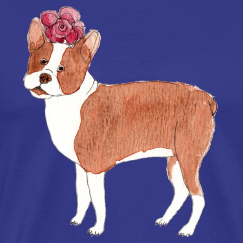 boston terrier with flower - Herre premium T-shirt