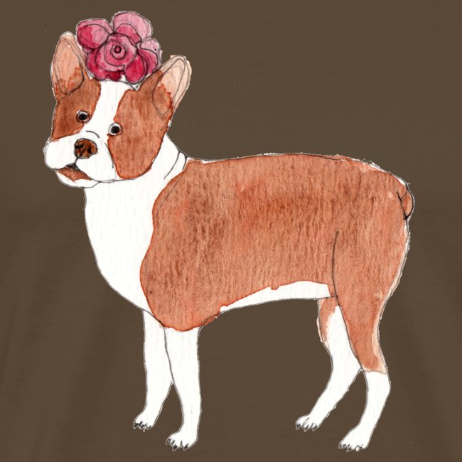 boston terrier with flower