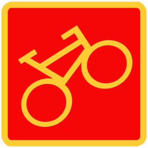 Schild «Fahrrad», gelb auf rotem Grund - Männer Premium T-Shirt
