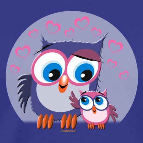 10-31 OWLS LOVE - PÖLLÖT, Äiti ja lapsipöllö - Miesten premium t-paita