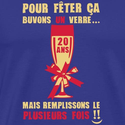 20 ans flute champagne verre anniversair - T-shirt Premium Homme