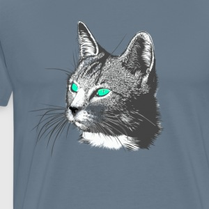 Cat hoved Tegning dyrehoved store pels grøn august - Herre premium T-shirt