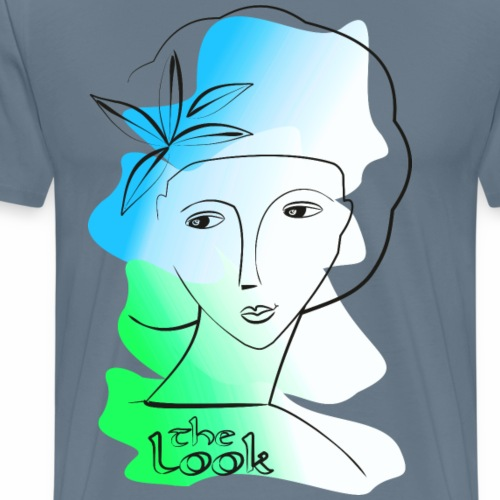 Cara 4a azul - verde (serie The Look) - Camiseta premium hombre