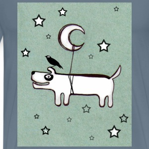 Dog, Bird & Moon - Premium T-skjorte for menn